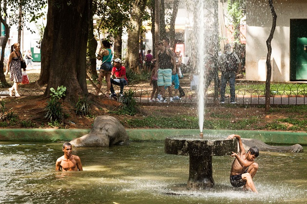Jovens se refrescam em lago da Praça da República |  Rodrigo Dionisio/Frame/Folhapress