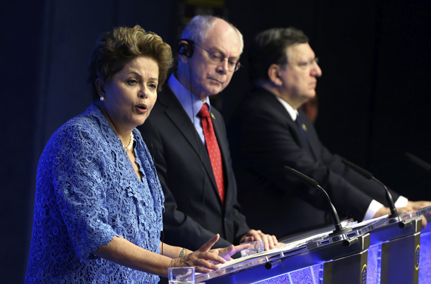 Dilma Rousseff, Herman Van Rompuy, presidente do conselho europeu e Jose Manuel Barroso, presidente da comissão | Francois Lenoir / Reuters