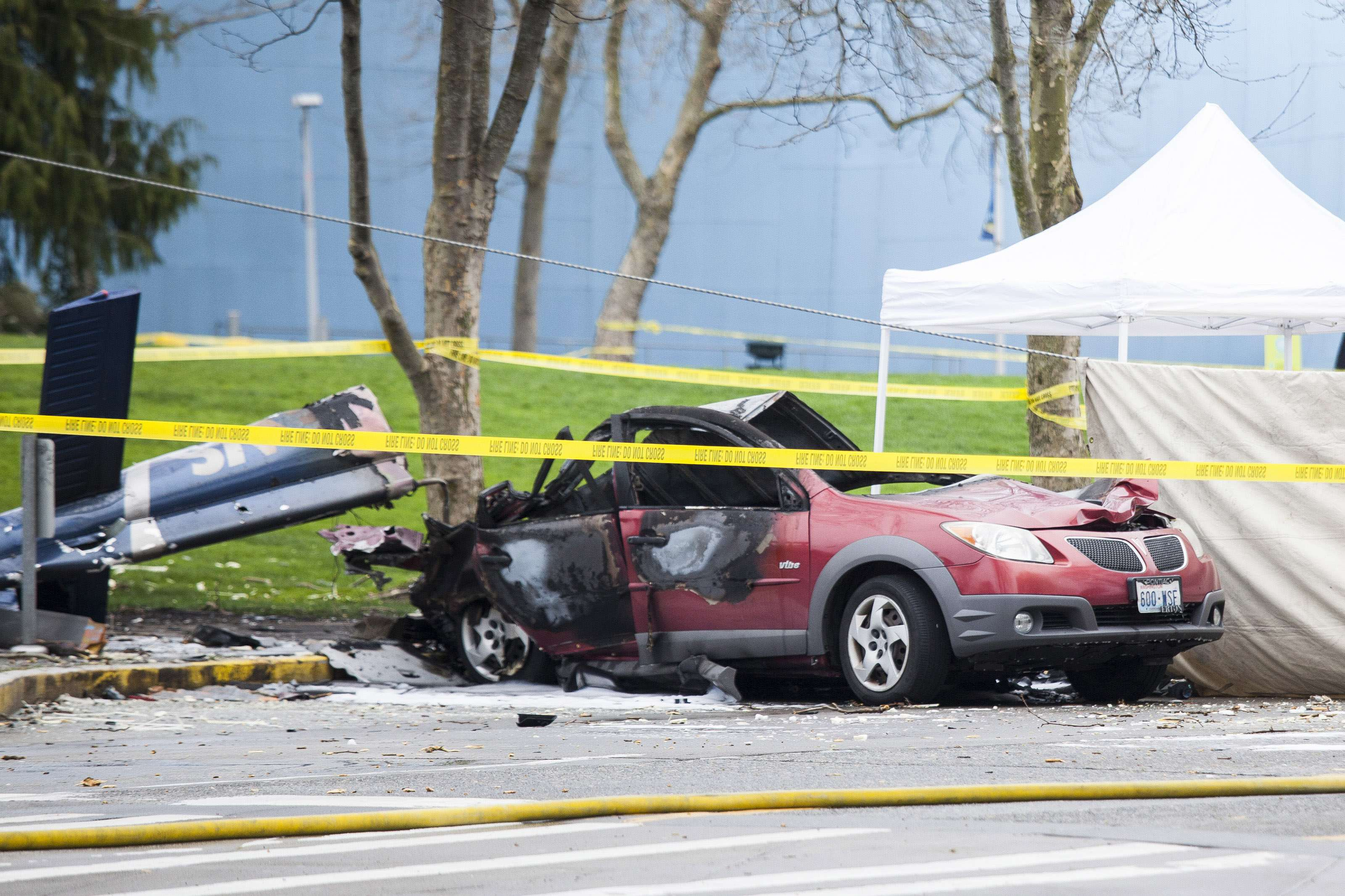 Wreckage is pictured where a television news helicopter crashed near the Space Needle in Seattle