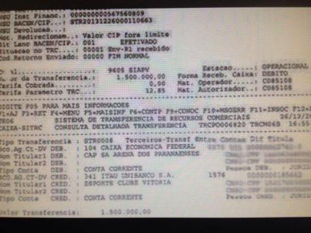 Extrato bancário da suposta transação envolvendo Léo / Ouvinte Paulo Vagner/BandNews FM Curitiba