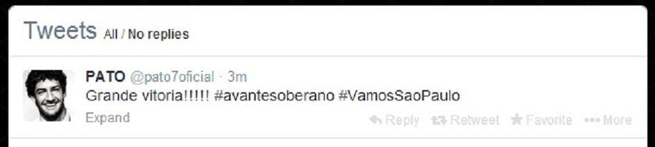 Pato comemorou a vitória do São Paulo pelo Twitter | Reprodução/Twitter