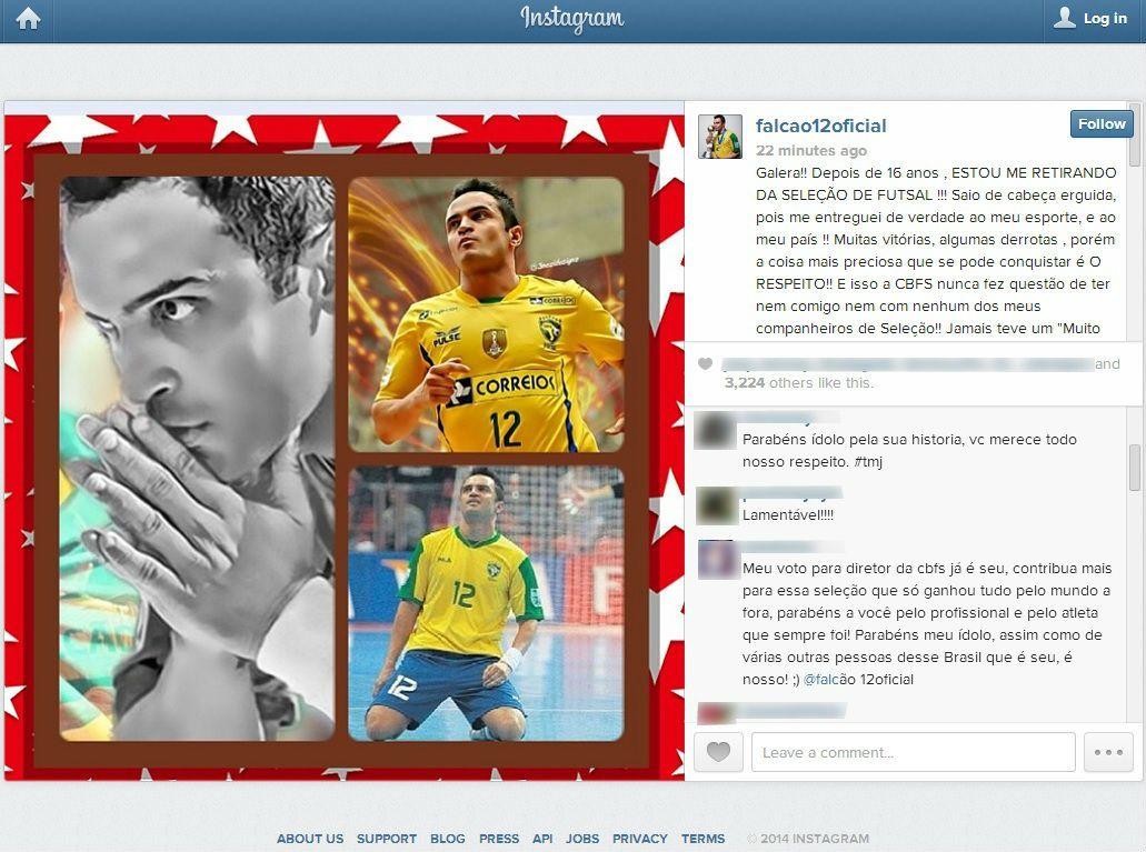 Falcão desabafa em postagem no Instagram / Reprodução/Instagram