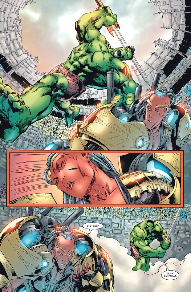 Uma das ilustrações da HQ 'Planeta Hulk' | Divulgação