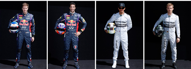 Sebastian Vettel e Daniel Ricciardo (Red Bull) - Lewis Hamilton e Nico Rosberg (Mercedes) | Brandon Malone/Reuters
