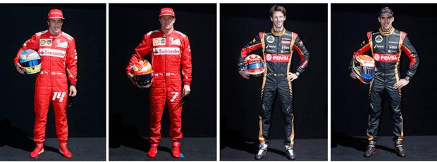 Fernando Alonso e Kimi Raikkonen (Ferrari) - Romain Grosjean e Pastor Maldonado (Lotus) | Brandon Malone/Reuters