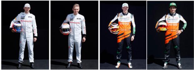Felipe Massa e Valtery Botta (Williams) -  Nico Hulkenberg e Sergio Perez (Force India) | Brandon Malone/Reuters