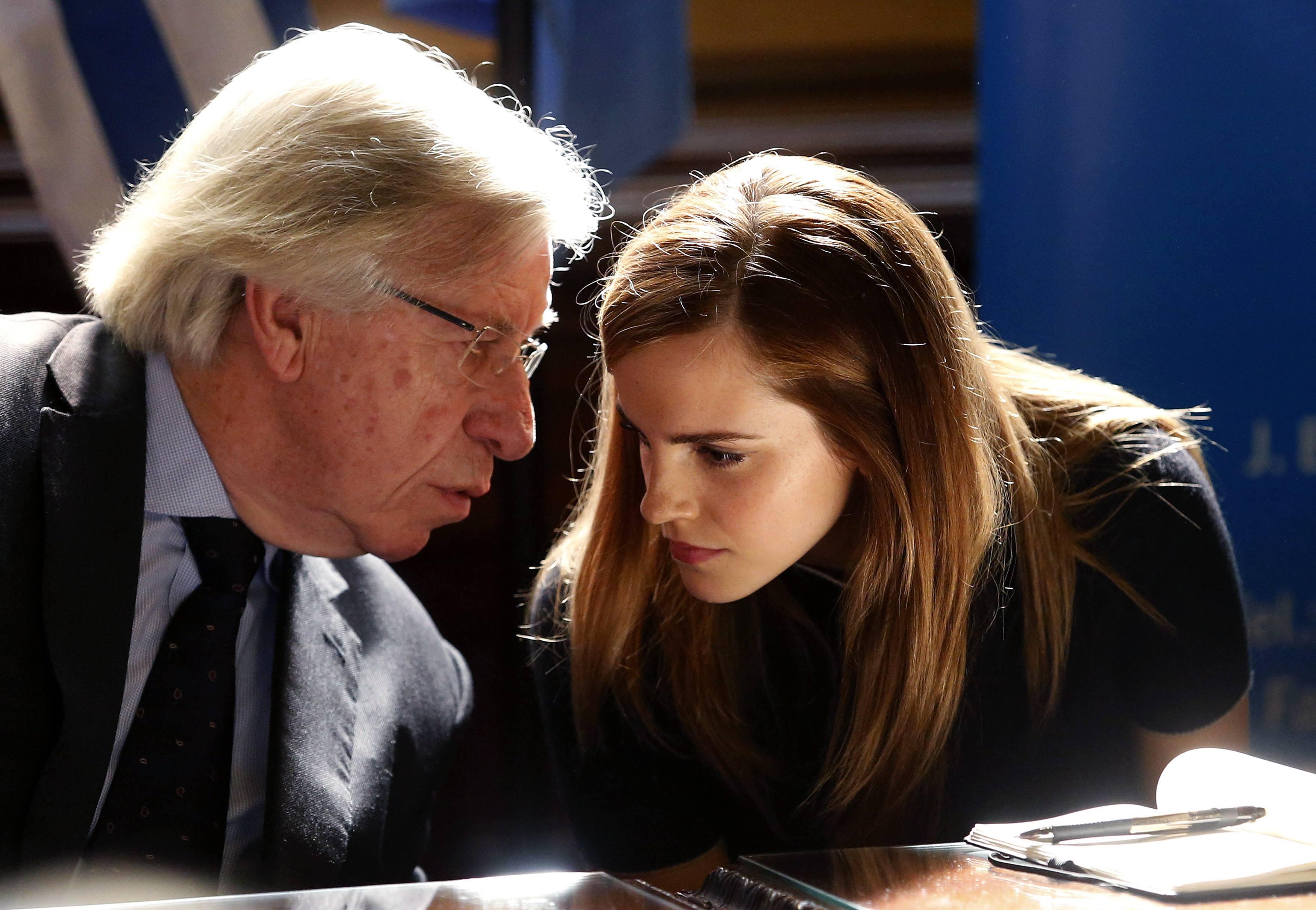 U.N. Women Goodwill Ambassador Emma Watson chats with Uruguay