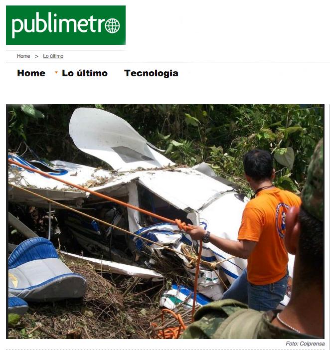 Oito passageiros e dois tripulantes da aeronave estavam no avião | Reprodução/Publimetro