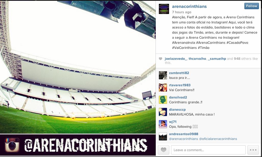 Clique para acessar o perfil da Arena Corinthians | Reprodução/Instagram