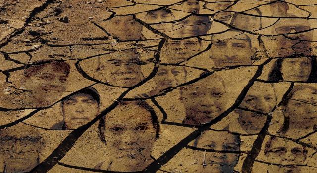 Montagem com imagens de moradores da capital que dizem sofrer com a falta d'água sobre o solo ressecado da represa Atibainha, que integra o sistema Cantareira