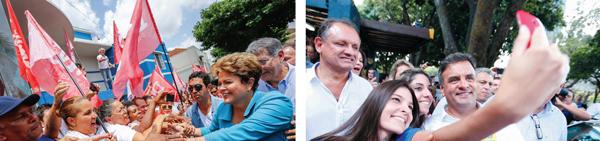 Dilma fez caminhada pelas ruas de Uberaba | Ichiro Guerra /Imprensa Campanha PT || Aécio se encontrou com eleitores em Belo Horizonte | Bruno Magalhães/Imprensa Campanha PSDB