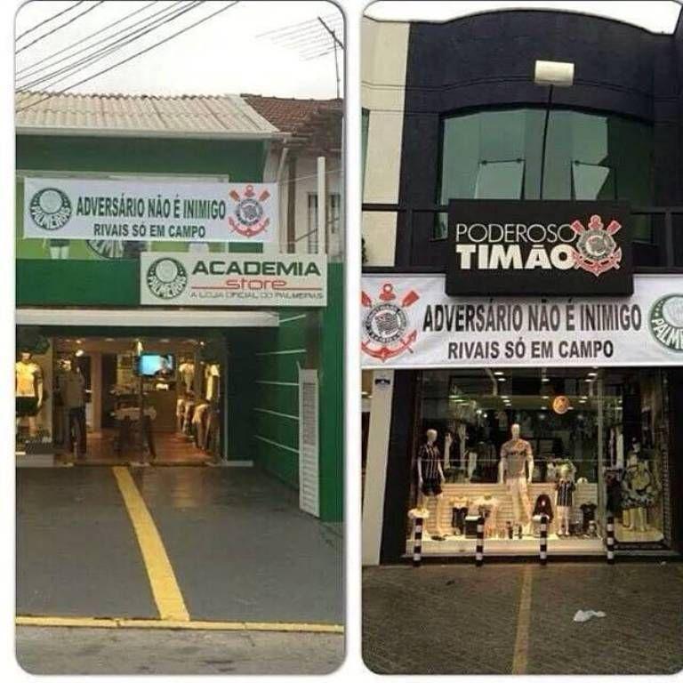 Lojas usaram faixas para pedirem paz entre as torcidas / Divulgação