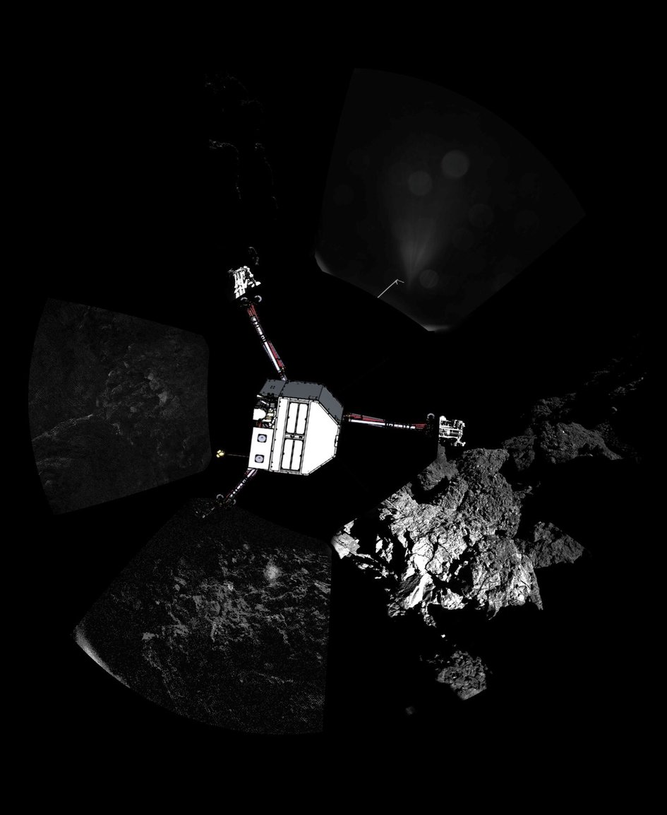 Primeira foto panorâmica do cometa visitado pela sonda Rosetta   Divulgação/ESA