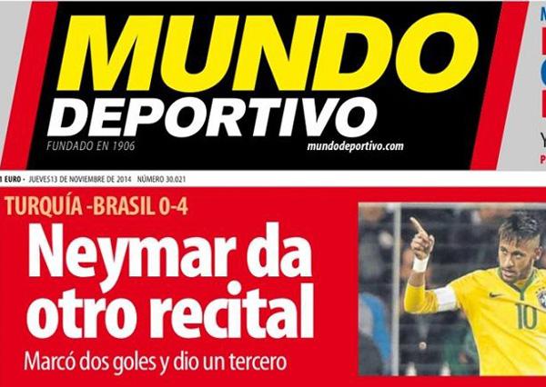 Mundo Deportivo disse que Neymar deu outro recital | Reprodução internet