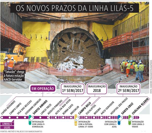 2760c5517057 Alckmin adia entrega da linha 5 do Metrô de novo, para 2018   Metro ...