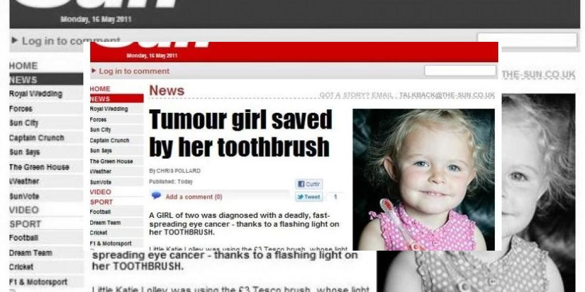 Cepillo de dientes le salva la vida a pequeña niña