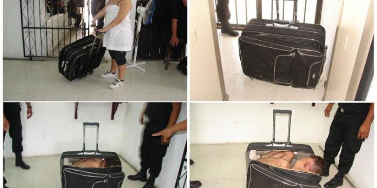 Foto muestra cómo un reo mexicano intentó huir en una maleta