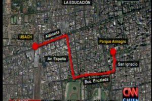 El nuevo trazado de la marcha por la educación. Foto:Imagen de TV (CNN). Imagen Por: