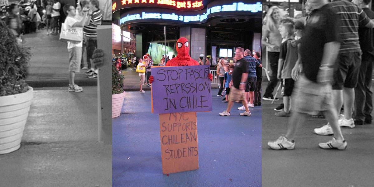 Chilean Way: Spiderman apoya movimiento estudiantil... en NY!