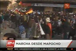 Manifestantes en Estación Central. Foto:Imagen de TV (TVN). Imagen Por:
