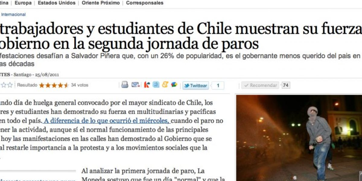 Medio español confunde a Sebastián Piñera con