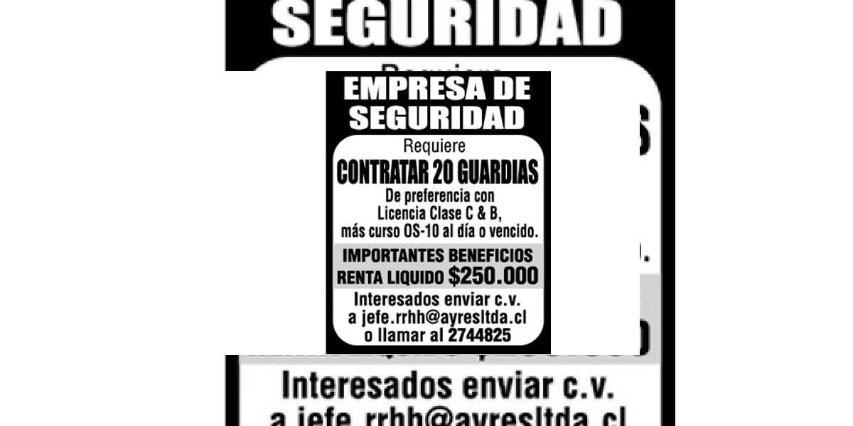 Avisos de empleos: Empresa de seguridad