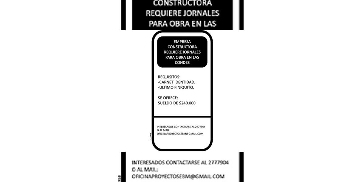 Avisos de empleo: Jornales para obra en Las Condes