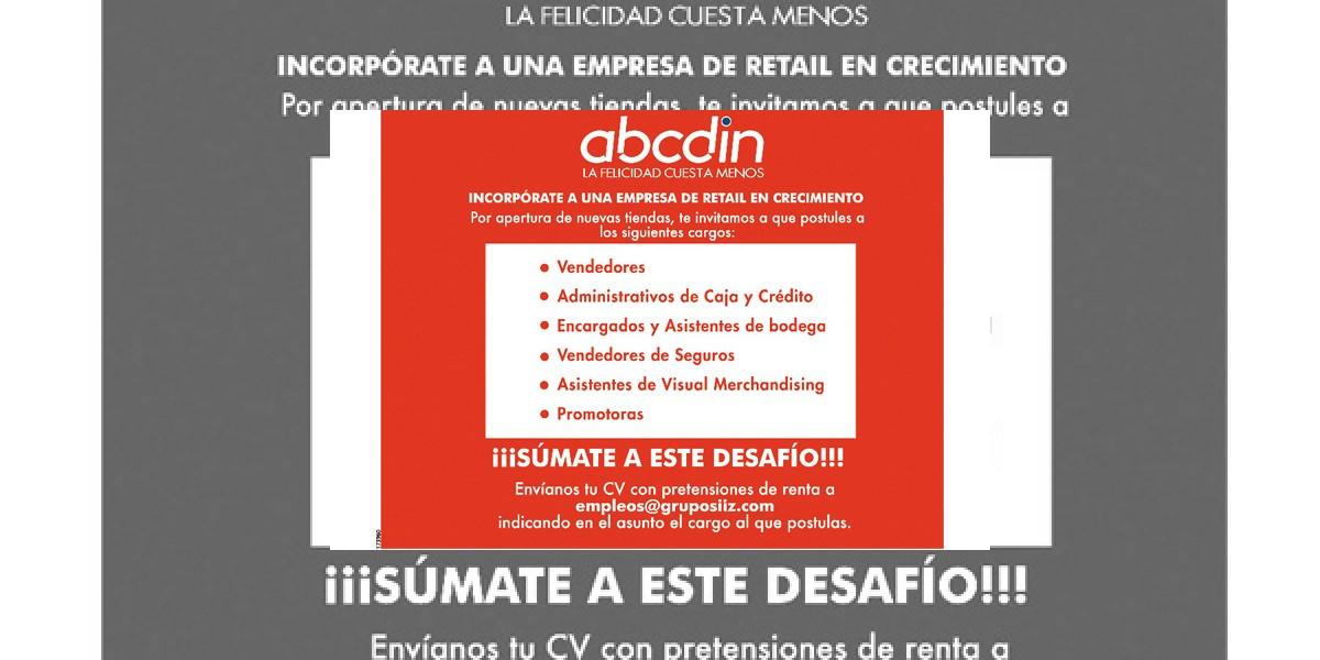 Avisos de empleo: Trabaja en ABCDIN