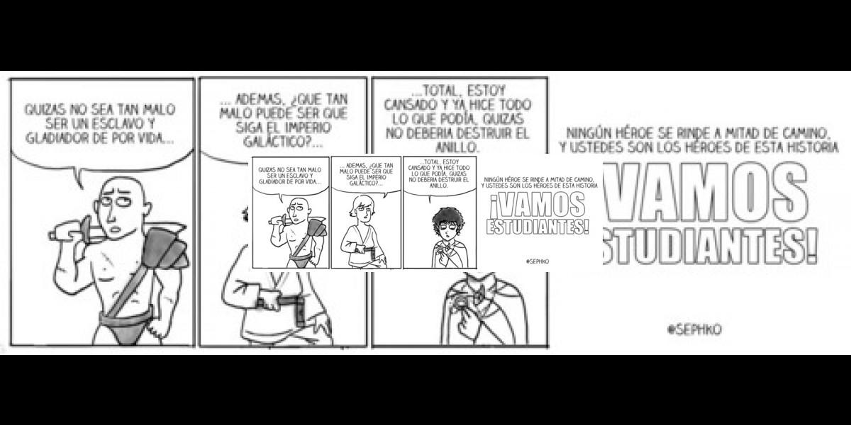 [FOTO] Divertida caricatura entrega apoyo a los estudiantes