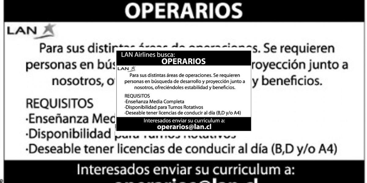 Avisos de empleo: Lan airlines requiere operarios