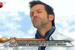 Esta es la cara que Sánchez le hizo a la cámara y que molestó a la producción de Morrisey. Foto:Reproducción de Chilevisión. Imagen Por: