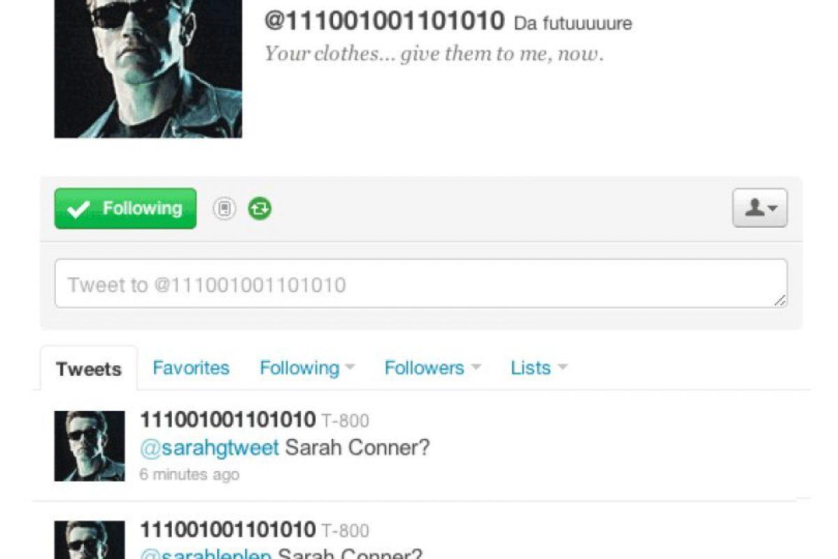 4.- @111001001101010: Esta es la cuenta de Terminator (T-800 por su modelo), quien se pasa la vida preguntándole a todas las Sarah que encuentra si es Sarah Connor. Foto:Reproducción. Imagen Por:
