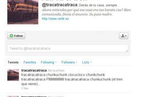 5.- @tracatracatraca: Es el Twitter del tren que te recuerda por qué la casa en la que vives era tan barata. Foto:Reproducción. Imagen Por: