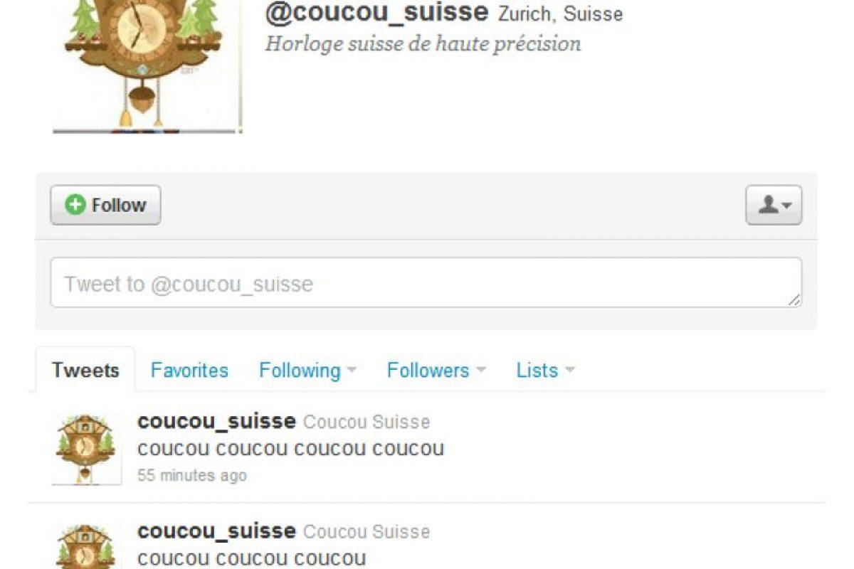 7.- @coucou_suisse: Es el auténtico pájaro cucú de Twitter. Foto:Reproducción. Imagen Por: