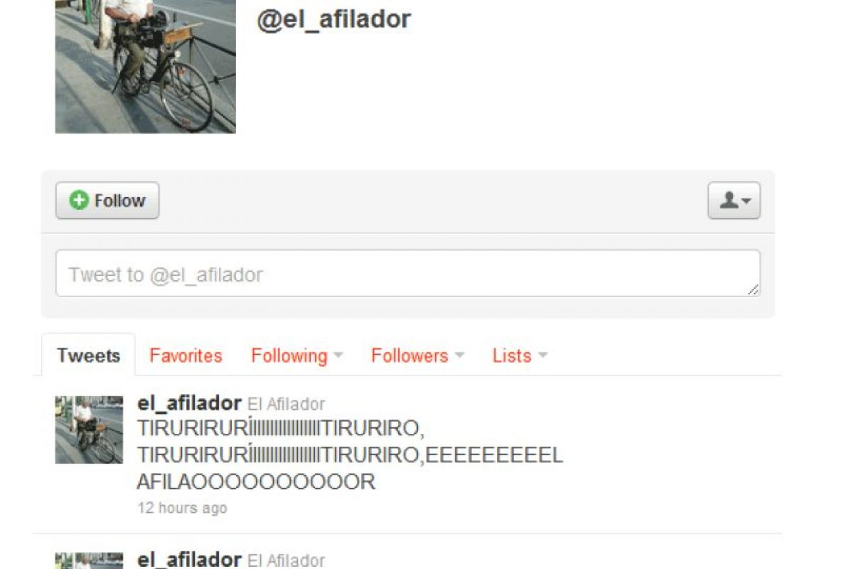 9.- @el_afilador: Los que recuerdan este personaje entenderán los extraños tuiteos de este afilador de cuchillos. Foto:Reproducción. Imagen Por: