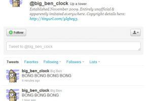1.- @Big_ben_clock: El famoso reloj inglés tiene su propio Twitter para informar exactamente las campanadas del reloj Foto:Reproducción. Imagen Por: