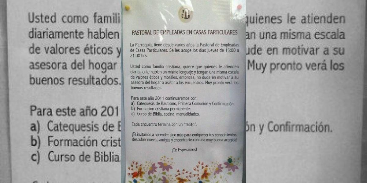 Arzobispado no comparte polémico aviso para asesoras de hogar en Iglesia El Golf