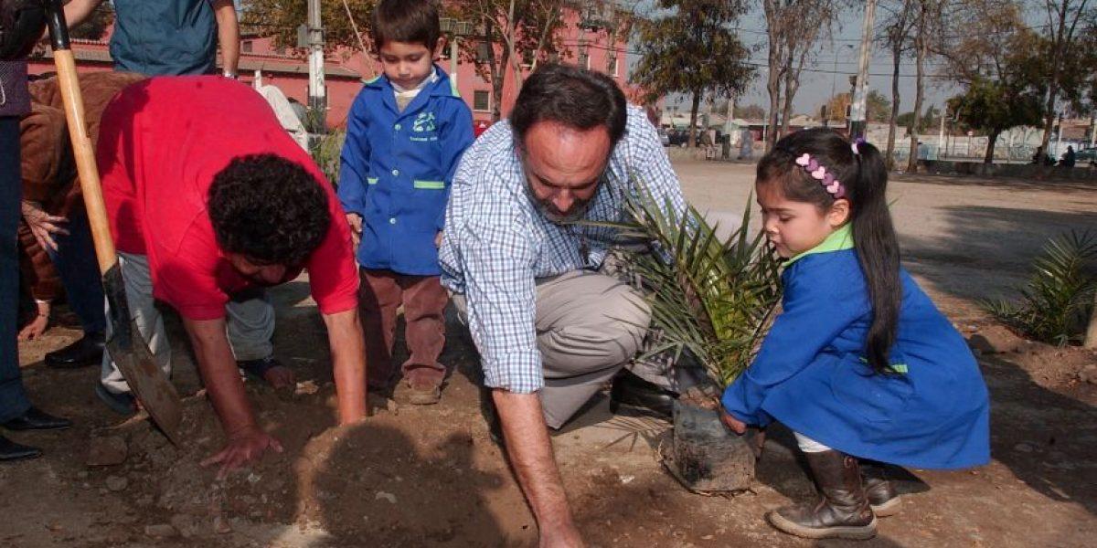 [FOTOS] Niños reforestan Plaza Padre Hurtado por el