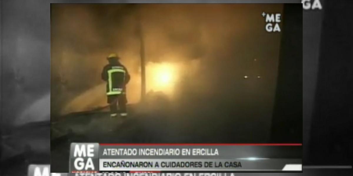 Encapuchados realizan violento ataque incendiario en Ercilla
