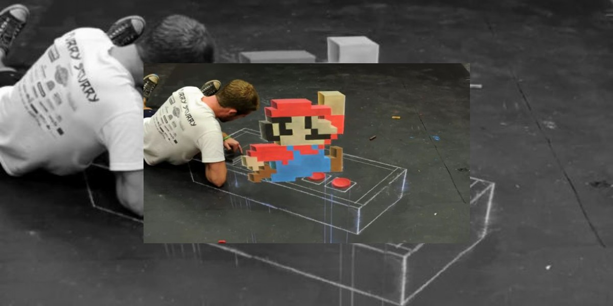 [VIDEO] Artista crea espectacular imagen en 3D de Mario Bros sólo con tiza