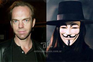 Hugo Weaving es el actor detrás de la máscara en la versión fílmica de V. Imagen Por: