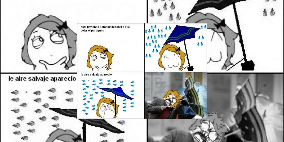 Qué verguenza cuando el viento te dobla el paraguas