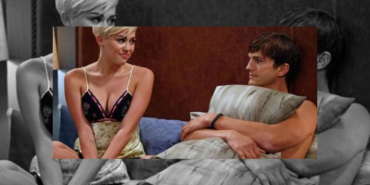 Lanzan imagen de Miley Cyrus con Ashton Kutcher en la cama