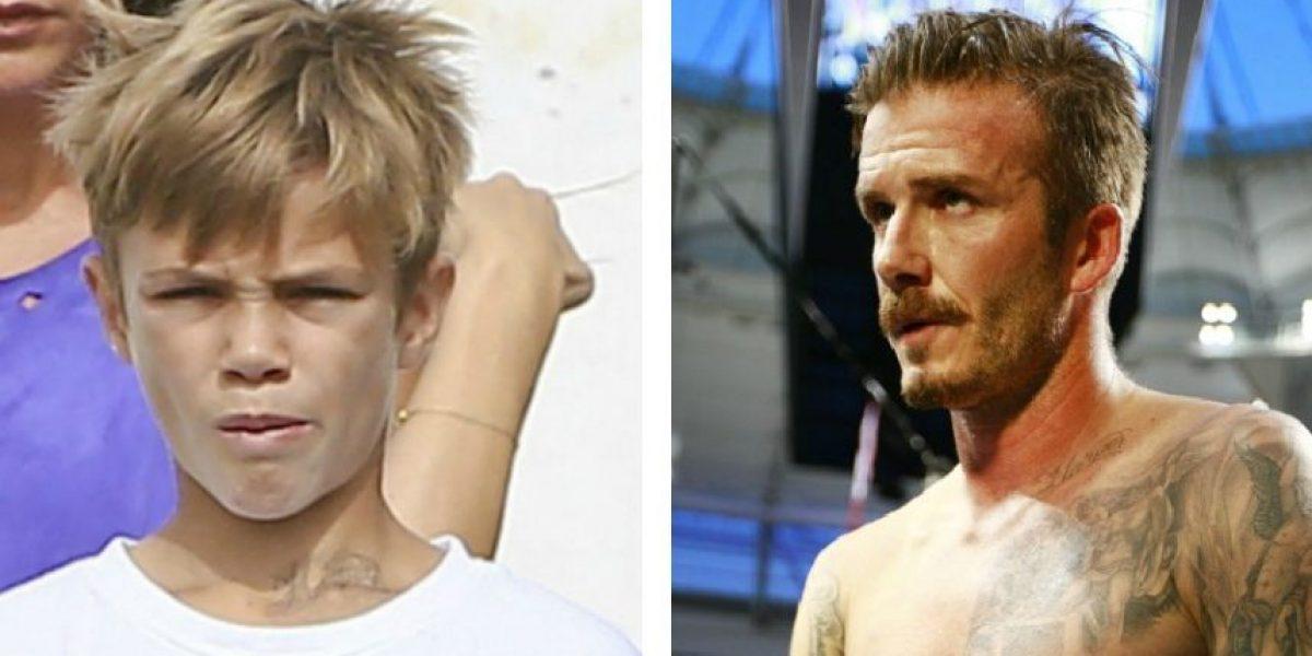 [FOTOS] Hijo de Beckham imita a su padre y se tatúa nombre de su hermana