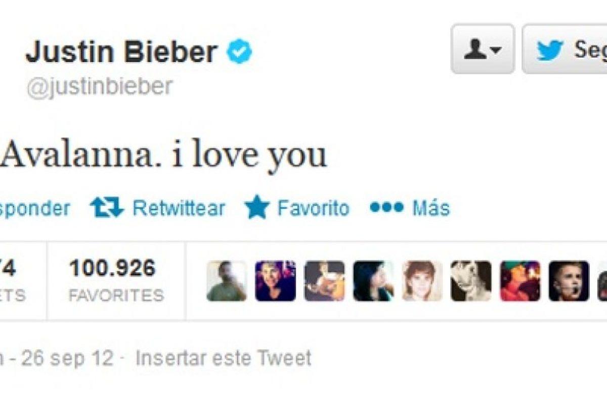 Justin Bieber ocupa el segundo lugar con un mensaje a Avalanna Routh, una admiradora de solo seis años que sufría cáncer cerebral y que murió ese día. Fue retuiteado más de 220.000 veces.. Imagen Por: