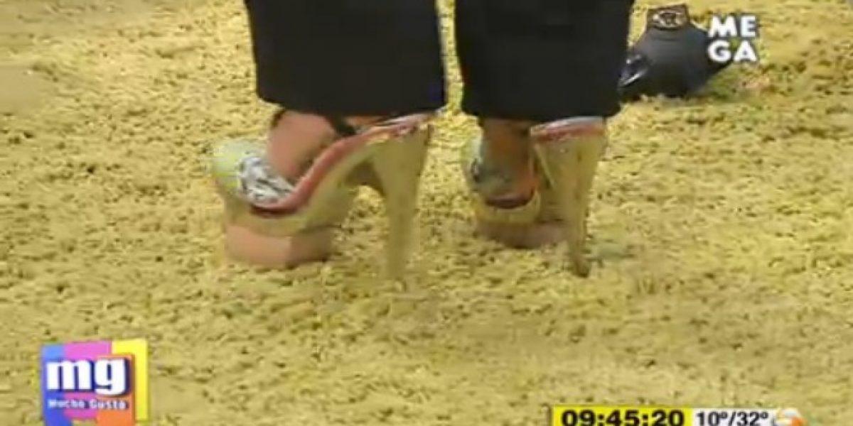 Paty Maldonado quiso usar los zapatos de Adriana Barrientos