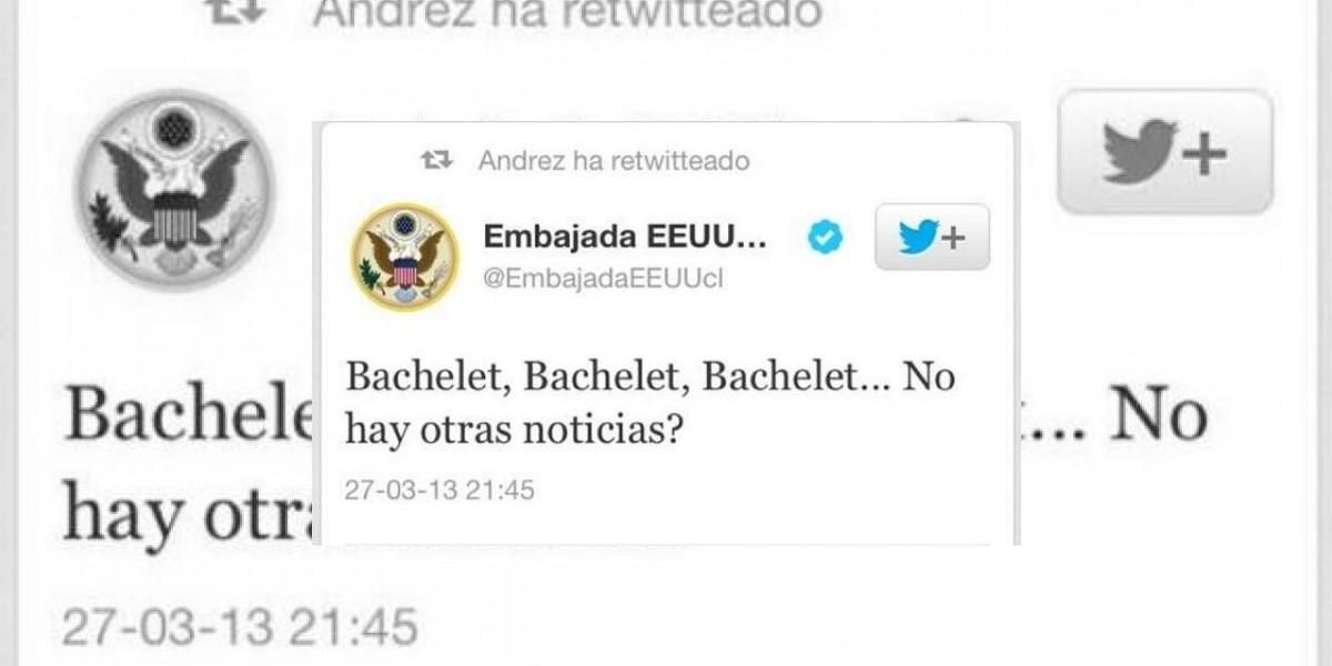 Embajada de EEUU pide disculpas por mensaje en Twitter sobre Bachelet