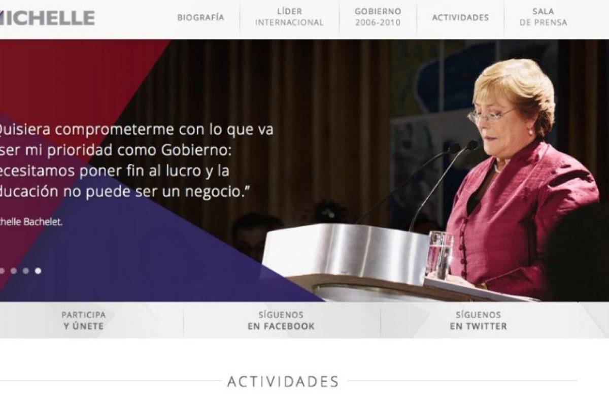 Foto:Captura de pantalla MichelleBachelet.cl. Imagen Por: