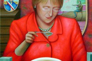 """Obra """"Presidenta comiendo cazuela"""" Foto:Agencia Uno. Imagen Por:"""