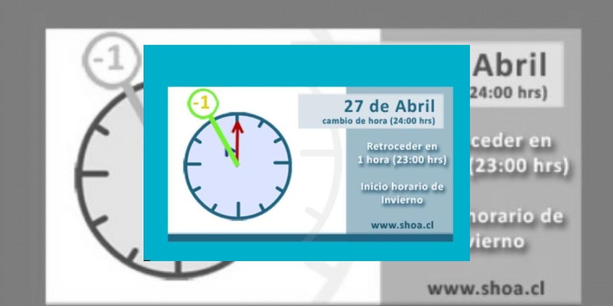 Horario de invierno parte este sábado 27 de abril y relojes se retrasan una hora